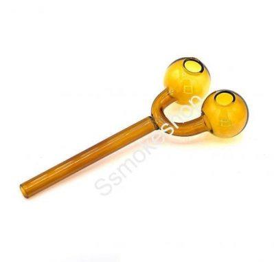 "5"" Double bowl Glass oil burner pipe slingshot Yellow"