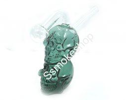 Teal Glass Double Skull Oil Burner Bubbler Water Smoking Bong 5.5