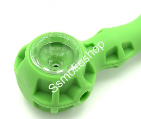 Silicone Hand Pipe Spoon w/ Glass Bowl Stash Jar and Dabber