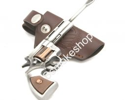 Dabber Tool All Metal Revolver Gun Design w/ Leather Holster