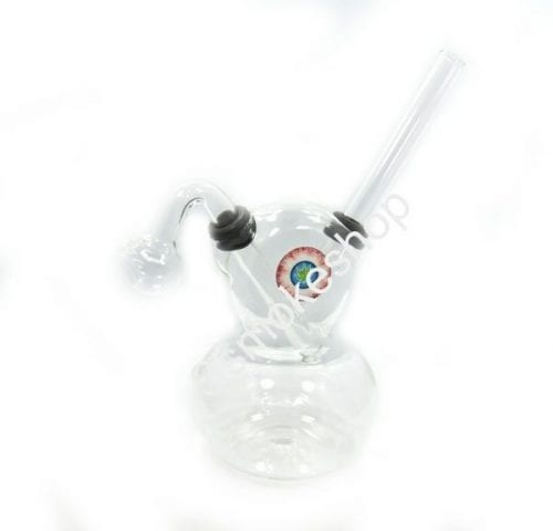 "7"" Clear Glass Oil Burner Bubbler Pipe Flat Gourd Shape"
