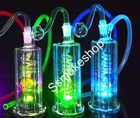 "4.5"" Glass Portable Oil Burner Pipe Bubbler Coil Perc LED Light"