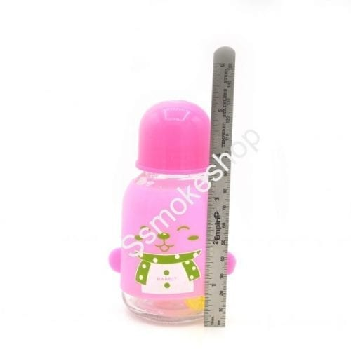 "5"" Thick Heavy Glass Bottle Oil Burner Bubbler 10mm w/ Deisgn"