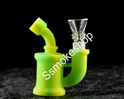 Mini 3.5″ Silicone hand Bubbler Pipe w/ Glass Bowl