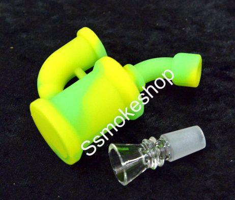 """Mini 3.5"""" Silicone hand Bubbler Pipe w/ Glass Bowl"""