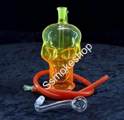 "5.5"" Color Spray Glass Skull Oil Burner Bubbler Water Smoking Bong"