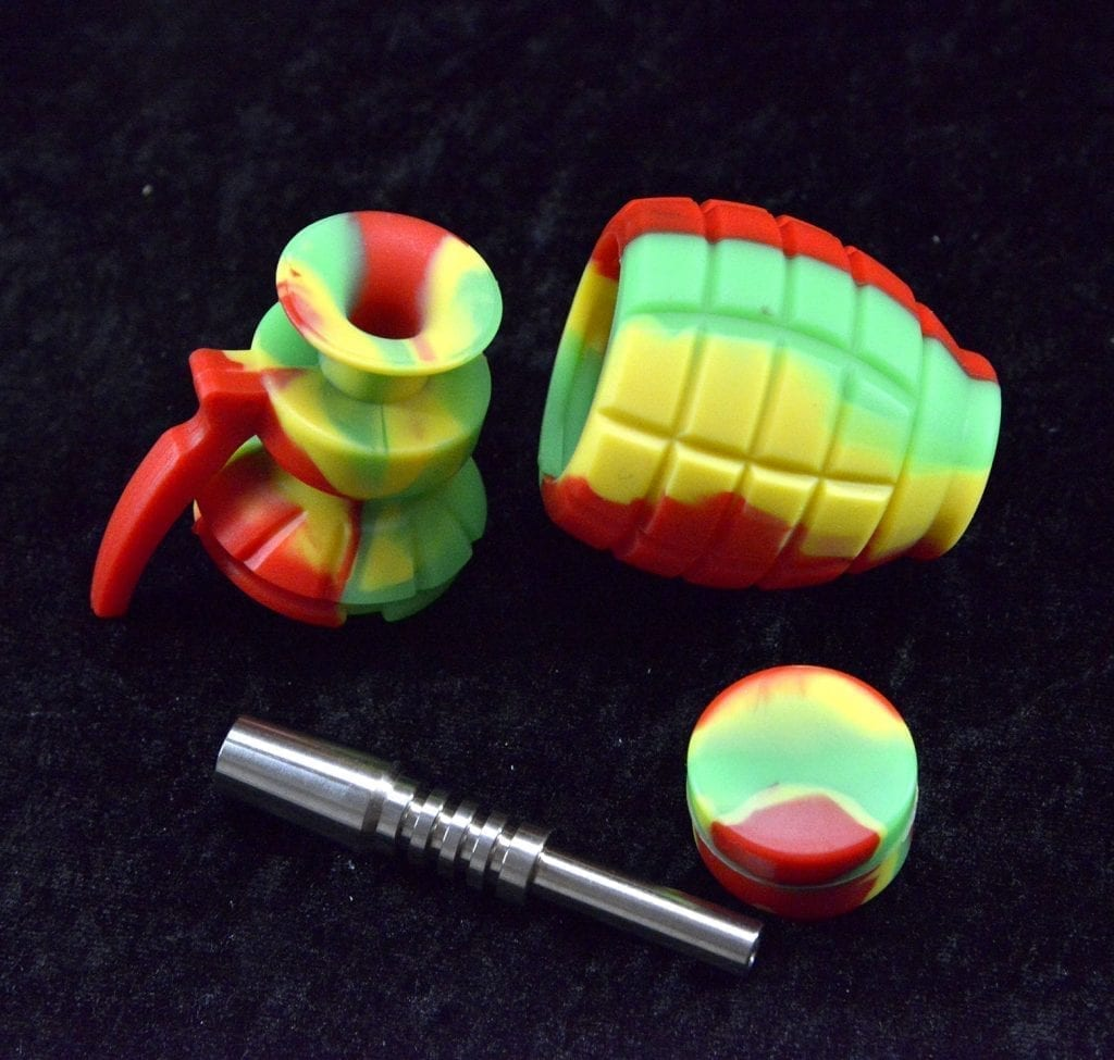 """6.5"""" Grenade Silicone Nectar Collector kit Concentrate Pipe Titanium Tip"""