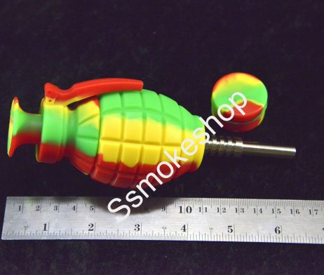 "6.5"" Grenade Silicone Nectar Collector kit Concentrate Pipe Titanium Tip"