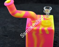 "Color 7"" Cube Silicone Bubbler water pipe w/ silicone jar"