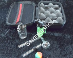 Clear Glass Oil Burner Bubbler with Hard Case Set