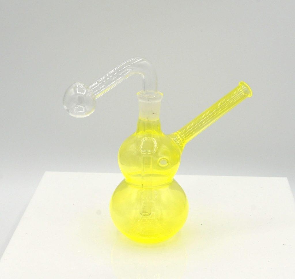 """6"""" Glass Oil Burner Bubbler Pipe Color Gourd Design 14mm"""