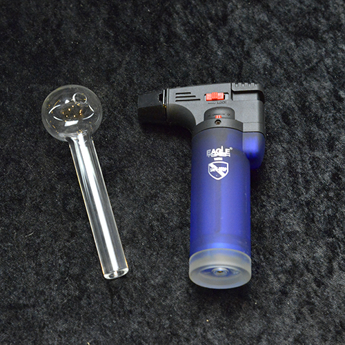 "4"" Clear Oil Burner + 4.5"" Torch Lighter"
