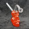 Red Color Glass Double Skull Oil Burner Bubbler 5.5""