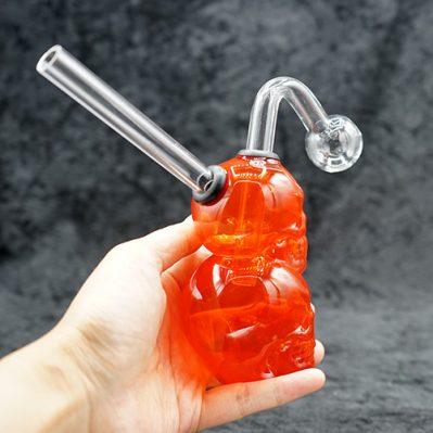 "Red Color Glass Double Skull Oil Burner Bubbler 5.5"""