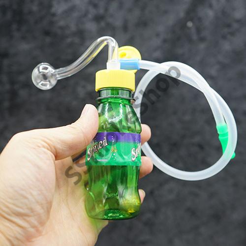 "5.5"" Mini Water Bottle Oil Burner Bubbler Water Pipe Bong w/ silicone tube"