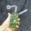 Double Skull Green Or Blue Color Oil Burner Bubbler