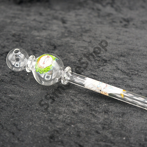 Fancy Design 7 inches Dual Bubble Oil Burner Glass Pipe