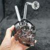 Glass Skull Oil Burner Bubbler Black 4 inches