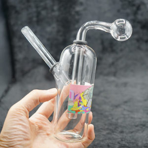 Oil Burner Bubbler Cylinder Clear Glass Fancy Design 7 inches