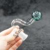 Teal Color Head Curve Oil Burner Glass Pipe 14mm