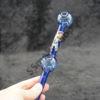Color 8 inches Dual Bubble Oil Burner Glass Pipe with Design Sticker